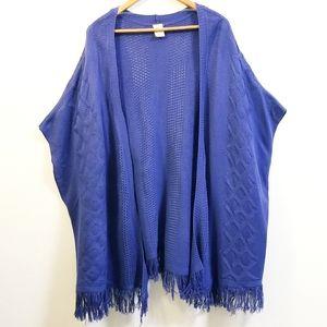 Women's 22w-24w PLUS Navy Blue Poncho sweater